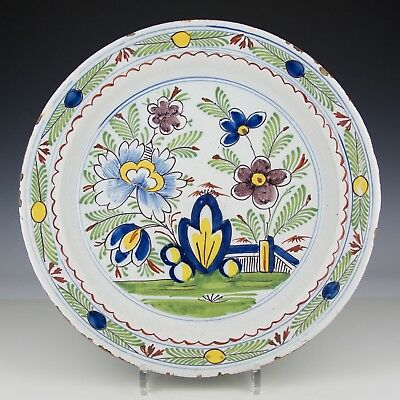 A Large 18th Century Dutch Delft Pottery Polychrome Floral Charger