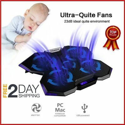 """Laptop Cooling Pad Cooler Stand Coolpad 5 Fans Mat External Dual USB Up to 17"""""""