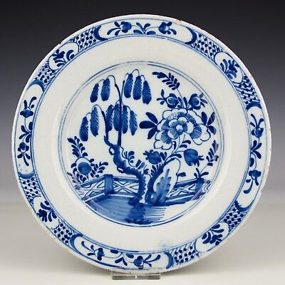 A Dutch Delft Pottery Blue And White 18th Century Plate With Garden