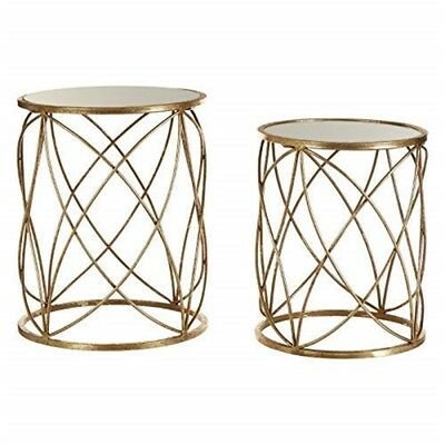 2de8494839e78d Arcana Set Of Two Side Tables Mirror Top/distressed Gold Metal - Top  Distressed