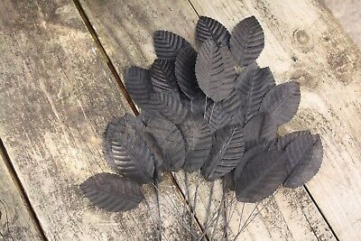 36 x LARGE BLACK FABRIC ROSE LEAVES 65mm x 40mm WIRED STEMS BRIDAL CRAFT