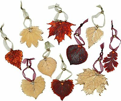 Leaf Ornaments - Set of Ten Iridescent and Gold Leaves. May Vary Slightly