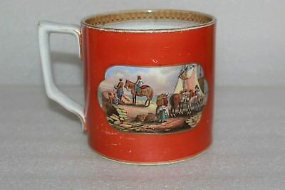 Antique Prattware Large Orange Tankard The Torrent & The Stone Jetty (Lot 28)
