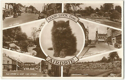 Scotland Multiview Airdrie Real Photo Vintage Postcard