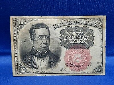 1874 10 Cents Fractional Currency - Very Good