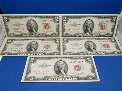 Set of 5 1953 $2 Red Seal US Notes - Extra Fine to About Uncirculated