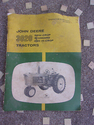 John Deere 3020 Tractor Operators Manual Row Crop Hi-Crop Standard 1st Edition