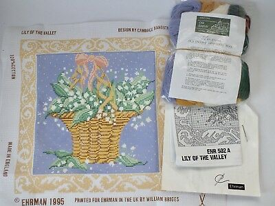 Vintage EHRMAN Lily Of The Valley Cushion Tapestry Kit Needlepoint Wools Threads