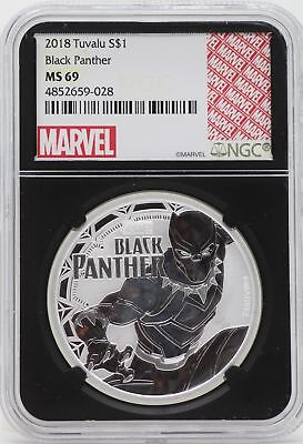 Black Panther 2018 Silver Coin 1 oz NGC MS69 Blackcore - Tuvalu 999 Marvel JY920