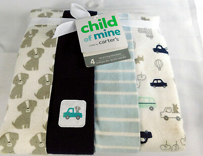 Carters Child of Mine Cotton Flannel Receiving Blankets Lot of 4 New Dogs Trucks