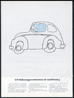 1968 VW Beetle classic car with air conditioning Volkswagen 13x10 ad