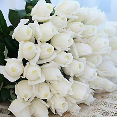 10pcs Real Touch Rose Bud Latex Artificial Flower for Home Wedding Party White