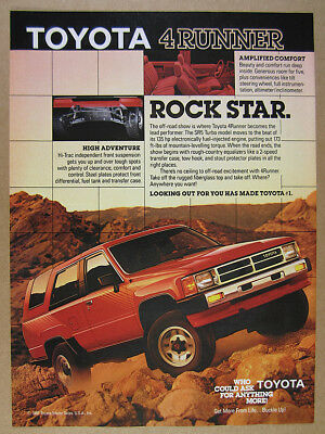 1987 Toyota 4Runner SR5 Turbo red truck photo vintage print Ad