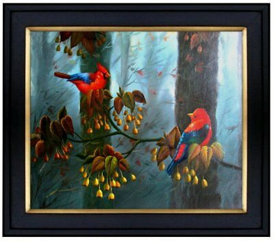 Framed Quality Hand Painted Oil Painting, Two Colorful Birds, 20x24in