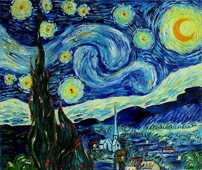 Vincent Van Gogh Starry Night Repro, Quality Hand Painted Oil Painting, 20x24in