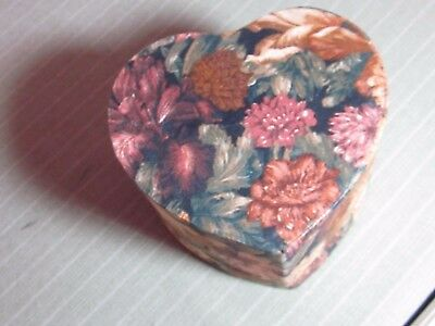 Jewelry Trinket Hankie Box Heart Padded Rose Floral Fabric Covered Lined Vintage