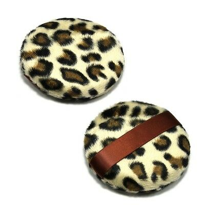 2 Pcs Fashion Large Makeup Leopard Style Cosmetic Loose Powder Puff