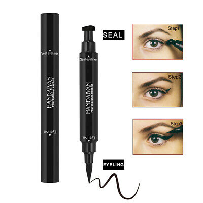 Dual-ended Liquid Eyeliner Black Pen with Stamp Seal Waterproof Eye Makeup Tools
