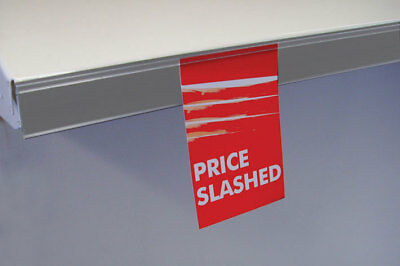 50 x Straight Talker Data Strip Price Label Holder for Retail Shelving - Grey