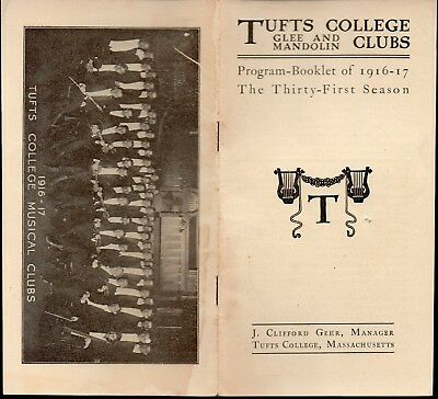 Tufts College Glee and Mandolin Clubs- Vintage 1916/17 Booklet - Medford MA