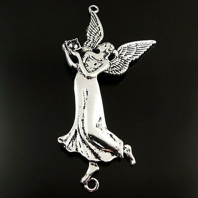 8pcs Antique Style Silver Tone Alloy Graceful Angel Pendant Charms Jewelry 78mm