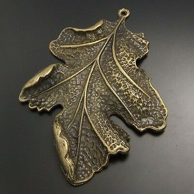 6pcs Antique Style Bronze Tone Alloy Large Leaf Pendant Charms 63mm