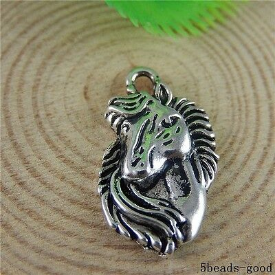 50789 Antique Silver Alloy Horse Head Pendant Charms Craft Findings Jewelry 9pcs