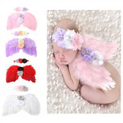 Newborn Photography Props Costume Cute Wings+Headband Photo Props Baby Girls UK