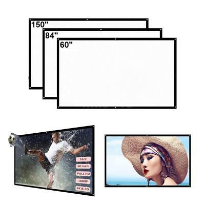 60'' Portable Foldable Wall Projector Screen 16:9 HD Home Theater Outdoor W0D7