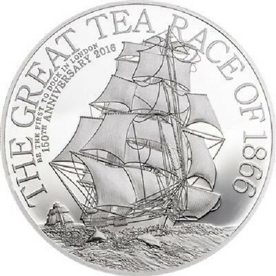 Cook Inseln - 2 Dollar 2016 - The Great Tea Race of 1866 - High Relief Silber PP