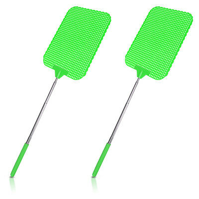 2x Extendable Fly Swatter Durable Telescopic Mosquito Bug Insect Killer - Green