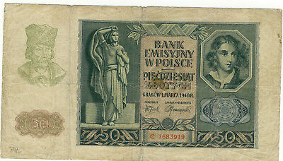 🇩🇪 50 Zlotych - 1940 - Generalgouvernement Polen - Ro.576 🇩🇪