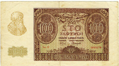 100 Zlotych 1940 Generalgouvernement Polen Ro 577
