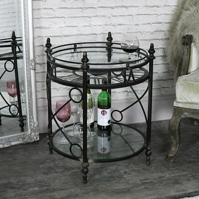 Ornate round metal glass skeleton clock table shabby vintage chic home garden