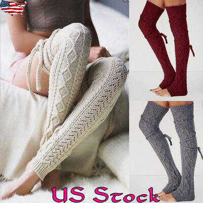 8de784917bc Women Winter Warm Cable Knit Over Knee Long Boot Thigh-High Socks Leggings