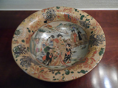 """Chinese 10"""" Bowl Hand Painted Moriage Gold Gild Oriental"""