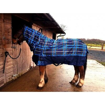 SHELDON horse / pony BLUE CHECK TURNOUT RUG 100G with FIXED NECK
