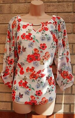 Billie & Blossom White Pink Green Floral Cut Sleeves Blouse Tunic Top Shirt 14 L