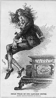 Oscar Wilde Sitting On Red Hot Cast Iron Stove By Thomas Nast Oscar Wilde