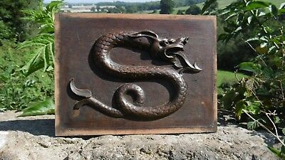 SUPERB 19thc GOTHIC OAK PANEL WITH GARGOYLE CARVED CENTRALLY C.1870