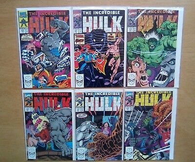 Incredible Hulk 6 Issues #370,371,372,373,374,375 Marvel Comics 1990 All V/fine