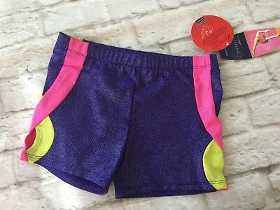 DANSKIN FREESTYLE SHORTS Dance Gymnastics Bling 7/8 Speed DRI NWT