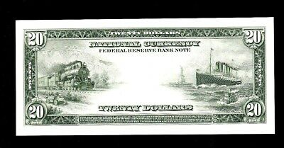 Proof Print or Intaglio by BEP - Back of 1915 $20 Federal Reserve Note