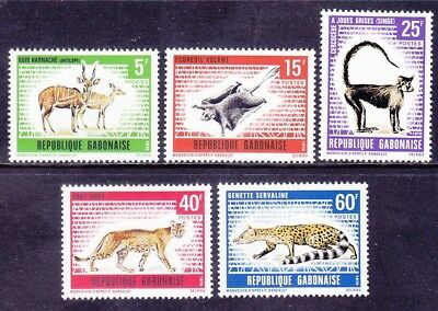 Gabon 262-66 MNH OG 1970 Various Animals Complete Set Very Fine