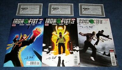IRON FIST #1 2 3 signed 1st print set MARVEL COMIC 2017 ED BRISSON COA netflix