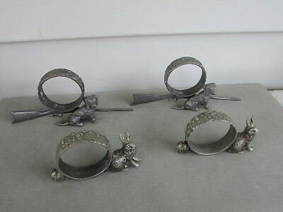 4 Antique/ Victorian PEWTER FIGURAL Napkin Rings Dogs~Rabbits~Rifles~Shotguns