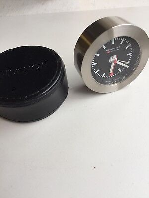 Mondaine Desk Clock White Dial Heavy Metal With leather Case Alarm Not Working