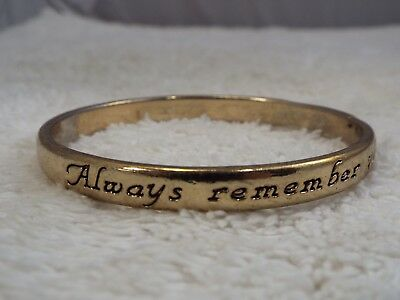 Always Remember You Are Braver Than You Believe - Goldtone Bangle Bracelet (A30)