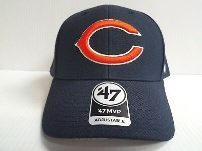 a00c5ee4d CHICAGO BEARS 47 Brand Cap Hook   Loop Adjustable Navy MVP Hat NFL ...