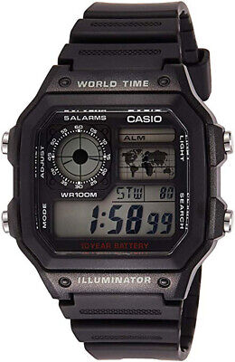 Casio AE1200WH-1A Men's Black Resin Strap World Time Chrono Alarm Digital Watch